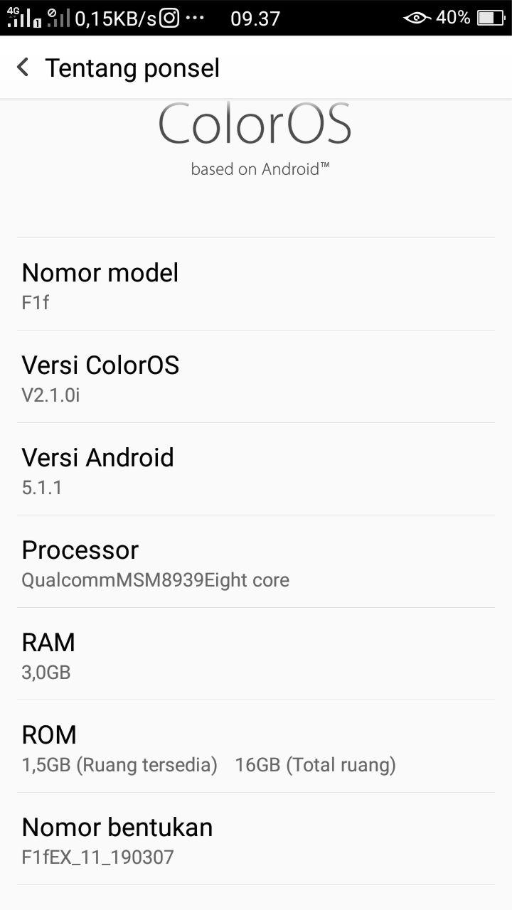 Detail Informasi Android Oppo Versi F1f