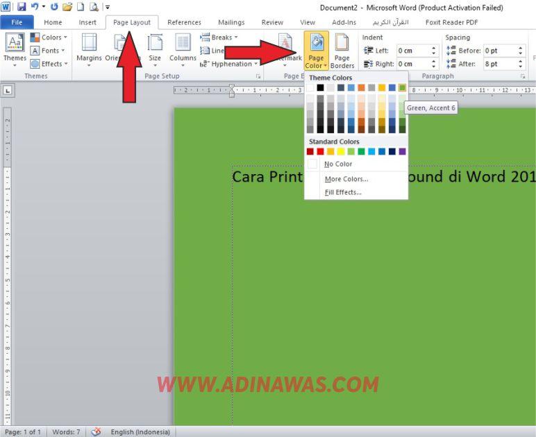 Langkah Cara Mewarnai Background Ms Word 2010 Dengan Mudah