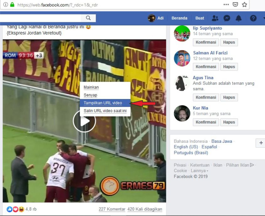 Cara Salin Url Video Facebook Lewat Browser Laptop