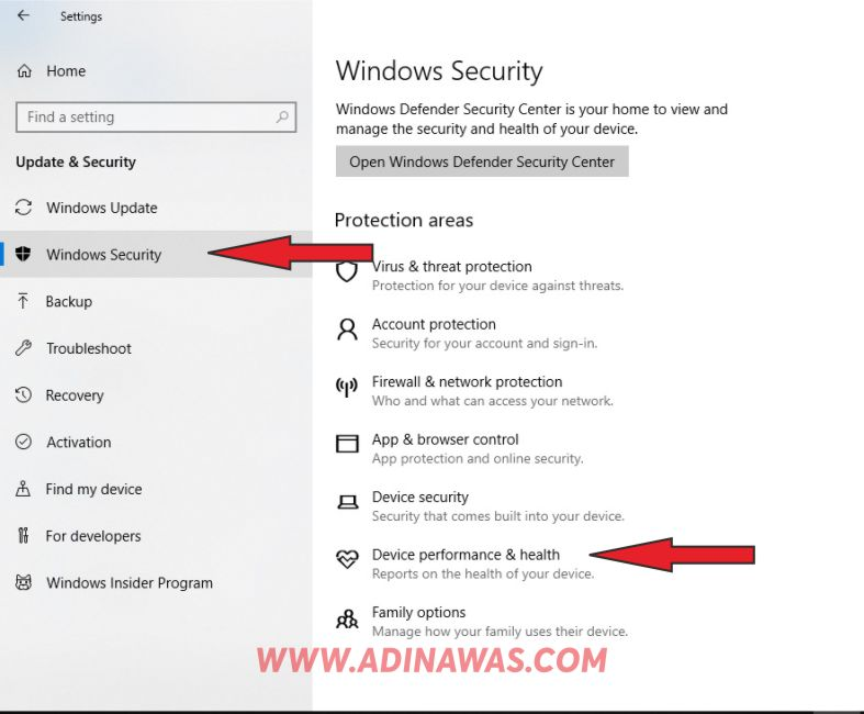 Pilih Windows Security dan Device Performance & Health