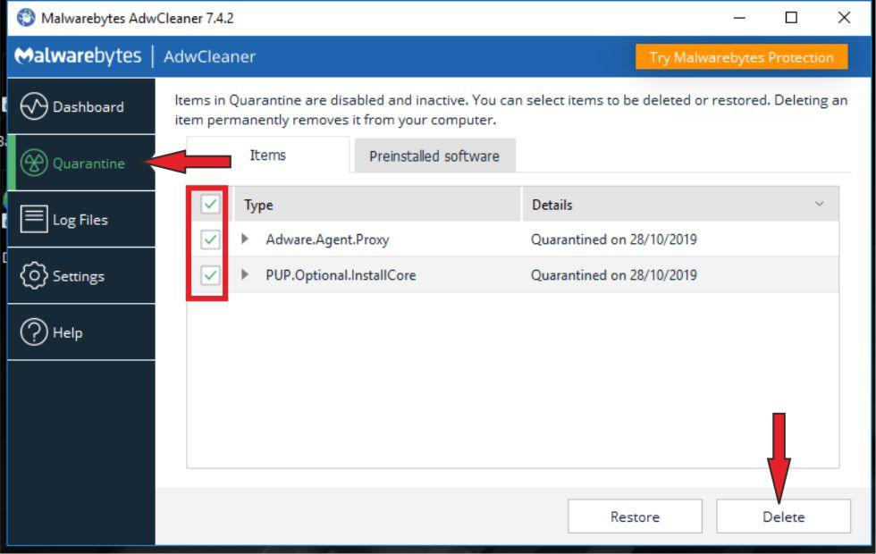 Proses Hapus Virus Browser Dengan AdwCleaner