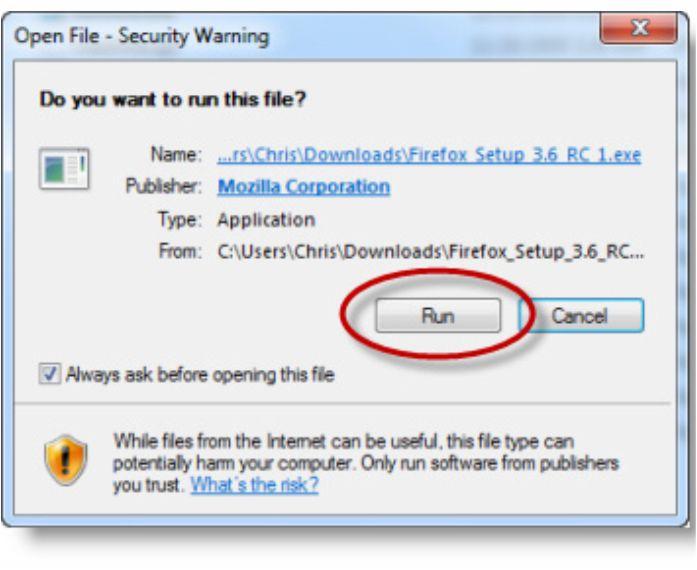 Tampilan Popup Instal Mozila Firefox