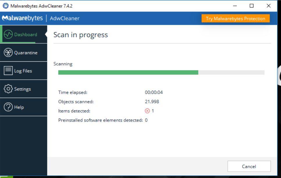 Proses Scanning Virus Menggunakan AdwCleaner