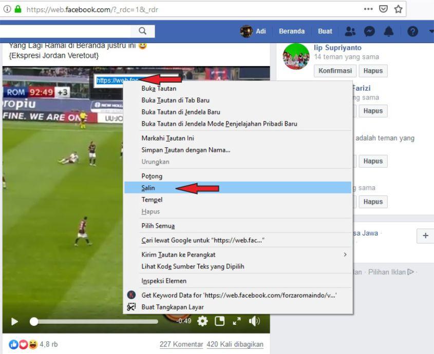 Langkah Untuk Salin Url Video Facebook di Komputer
