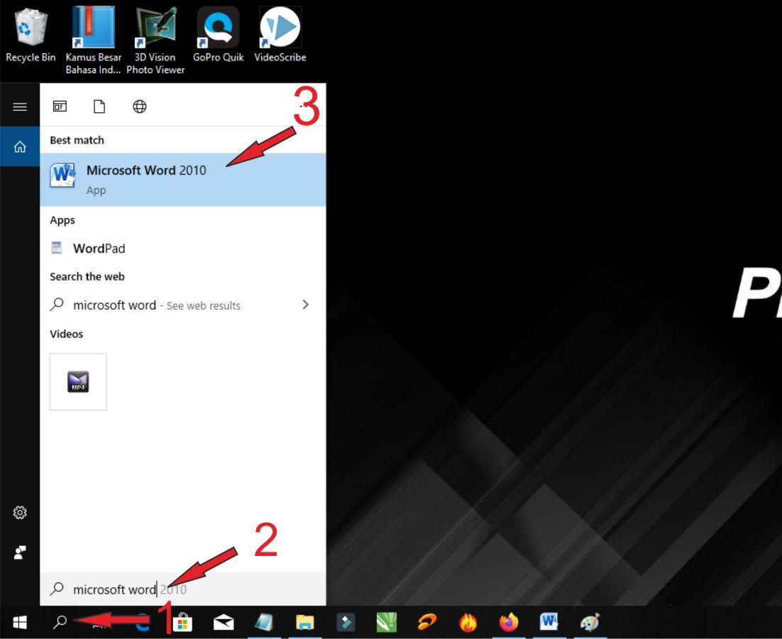 Langkah-Langkah Untuk Membuka Microsoft Word 2010