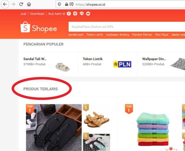 Cara Mencari Produk Terlaris di Shopee